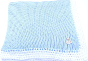 Knitted Crochet Finished Blue Cotton White Trim Baby Blanket with White Teddy