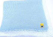 Knitted Crochet Finished Blue Cotton White Trim Baby Blanket with Yellow Teddy