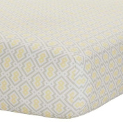 Sleep Well Yellow/Grey Print Fitted Crib Sheet