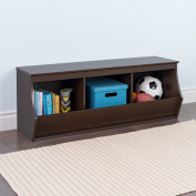 Prepac Fremont Stackable 3-Bin Storage Cubby in Rich Espresso