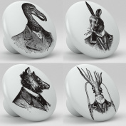 Steampunk Animal Portraits Ceramic Knobs Set of 4