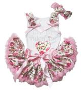 My 1st Valentine Dress Heart White Cotton Shirt Pink Floral Baby Skirt Set 3-12m