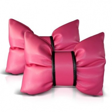 Silence-shopping 2pcs Pu Leather Charming Bowknot Leather Neck Pillow Headrest Cushion for Car Pink