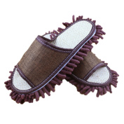 Moolecole Chenille Dusting Mopping Slippers Floor Mop Shoes Detachable Cleaning Tool Fits Mens Size 7-8.5 Brown