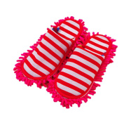 Moolecole Spring and Autumn Chenille Floor Cleaning Mop Slippers Detachable Mopping Shoes Cleaning Tool Fits Womens Size 5.5-8 Red