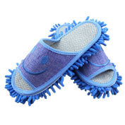 Moolecole Microfiber House Floor Cleaning Mop Slippers Detachable Mopping Shoes Cleaning Tool Fits Mens Size 7-8.5 Blue