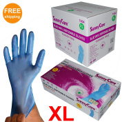Sunnycare #7404 1000/1case Blue Vinyl Gloves Powder Free (Non Latex Nitrile Exam) X-Large