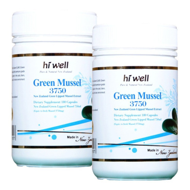 Hi Well Premium Green Lipped Mussel 3750mg 180 Capsules New Zealand Green Lipped Mussel Extract Joint Health Support & Mobility (Pack of 2)
