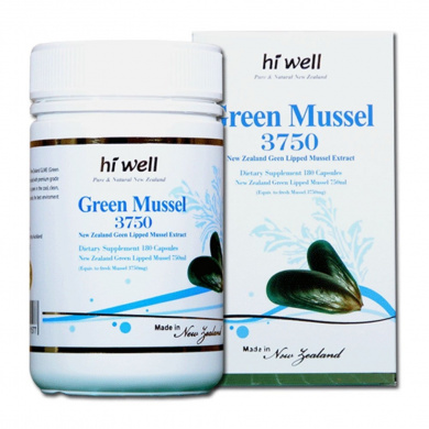 Hi Well Premium Green Lipped Mussel 3750mg 180 Capsules New Zealand Green Lipped Mussel Extract Joint Health Support & Mobility