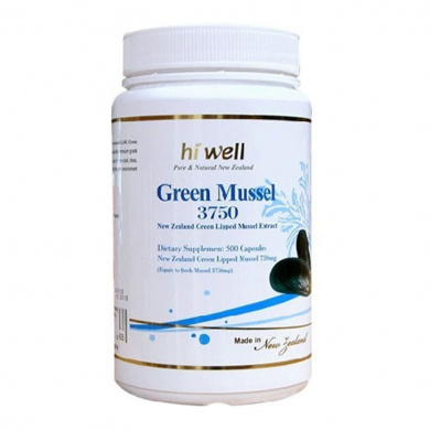 Hi Well Premium Green Lipped Mussel 3750mg 500 Capsules New Zealand Green Lipped Mussel Extract Joint Health Support & Mobility
