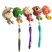 Mziart Cute Bathroom Antibacterial Toothbrush Holder Clear with Suction Cup, Cartoon Animals