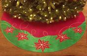 Poinsettia Design 120cm Tree Skirt