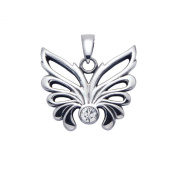 Stainless Steel Open Winged Butterfly Pendant w/Faceted White Crystal Stone