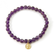 """""""Love Found Me"""" Amethyst Gemstone Stretch Bracelet with Gold Filled Virgin Guadalupe Charm"""