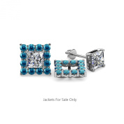London Blue Topaz Halo Jacket for Princess Cut Stud Earrings 0.84 ct tw in 14K White Gold