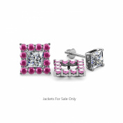 Pink Sapphire Halo Jacket for Princess Cut Stud Earrings 0.76 ct tw in 14K White Gold