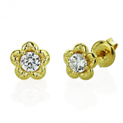 Sterling Silver 14K Yellow Gold Plated Round CZ Prong Set Flower Stud Earrings