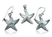 925 Sterling Silver White Mosaic Fire Opal Starfish 3D Pendant Earrings Set