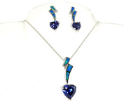 Sterling Silver Love Flash Simulated Tanzanit and Simulated Opal Necklace Earring Set
