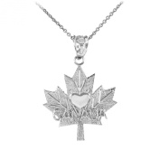 "10k White Gold Maple leaf ""CANADA"" word with heart Pendant Necklace"