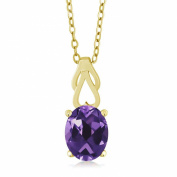 2.50 Ct Oval Purple Amethyst 18K Yellow Gold Plated Silver Pendant With Chain