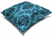 "Turquoise Approximately (45cm x 45cm or (18"" x 18"") Flock Print Faux Silk Cushion Cover Pillow Case"