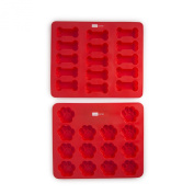 Domestic Corner Dog Bone and Paw Print Silicone Baking Pans - Set of 2 - Red