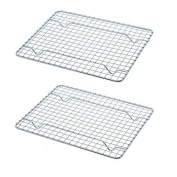 Update International Heavy-duty 1/4 Size Cooling Rack, Wire Pan/Commercial Grade, Oven-Safe, Chrome, 25cm L, Set of 2