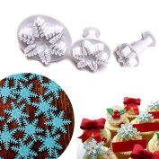 Anyana 3pcs set Snowflake Plastic Plunger And Cookie Cutter Cake Mould Tool Kitchen Tool Sugar Paste Baking Mould Cookie Pastry