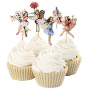 24pcs Pretty Fairy Cupcake Toppers for Cake Decorations Baby Girls Children Kids Toddlers Teens Birthday Supplies Bridal Shower Wedding Favours