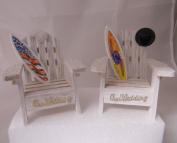 Wedding Reception Adirondack Chairs Surfboard Beach Ocean Cake Topper