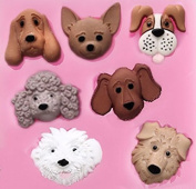 Dog Puppy Faces 7 Cavity Square Silicone Mould for Fondant, Gum Paste, Chocolate , Crafts