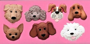 Dog Puppy Faces 7 Cavity Silicone Mould for Fondant, Gum Paste, Chocolate , Crafts