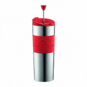 Bodum Insulated Stainless-Steel Travel French Press Coffee and Tea Mug, 0.45-Litre, 440ml, Red by Bodum