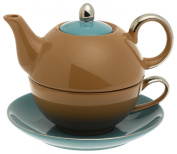 Classic Coffee & Tea Chic Tea Set for One - Teapot, Cup & Saucer in Turquoise & Mocha Design