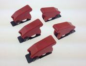 Baomain 5Pcs 12mm Mount Dia. Red Safety Flip Cover for Toggle Switch