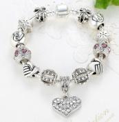 New 19CM 925 Silver DIY Charm bracelet for Women Crystal Beads Heart Pendant Fashion Jewellery Fit Original Bracelets Gift