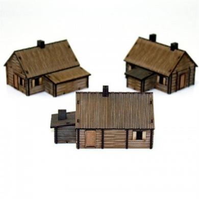 15mm European Buildings Pre-painted Log Timber Village (3 Buildings)