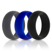 Mens Silicone Wedding Ring Wedding Band - 3 Rings Pack - 8.7mm Wide (2mm Thick) With .