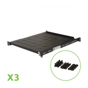 Navepoint Sliding Rack Vented Server Shelf 1U 48cm 4 Post Rack Mount Adjustable 50cm - 90cm Set of 3 Black