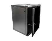 NavePoint 15U Wall Mount Server Data Cabinet 60cm Depth Glass Door Lock & Key w/Casters