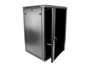 NavePoint 18U Wall Mount Server Data Cabinet 60cm Depth Glass Door Lock & Key w/Casters