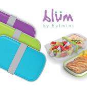 Blüm Bento Lunch Box with Leakproof Lid, Personalizable Divider & Matching Cutlery - Removable Clear Liner Becomes Upper Fruit Bowl