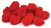 Package of 90 Fluffy Red Craft Pom Poms 3.8cm in Diameter for Crafting, Creating and Embellishing