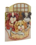Santoro 3D Swing Greeting Card, Puppies In A Basket