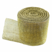 Gold Diamond Sparkling Rhinestone Mesh Ribbon for Event Decorations, Wedding Cake, Birthdays, Baby Shower, Arts & Crafts, 12cm x 10 Yards, 24 Row, 1 Roll by Super Z Outlet®