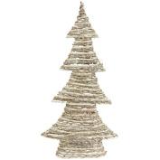 60cm Winter Light Brown and White Glittered Rattan Decorative Christmas Tree - Unlit