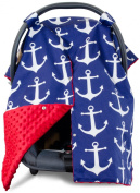 Premium Carseat Canopy Cover with Peekaboo Opening- Large Nautical Anchor Print with Red Minky   Best for Infant Car Seat, Boy or Girl   All Weather   Universal Fit   Baby Shower Gift   Newborn Decor