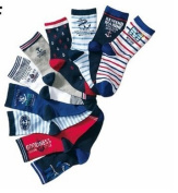 10 Pairs Boys Cotton Socks Seaman Kids Socks Size Ages 4-7 Years
