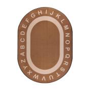 Joy Carpets Kid Essentials Early Childhood Oval Endless Alphabet Rug, Mocha, 1.5m x 2.1m